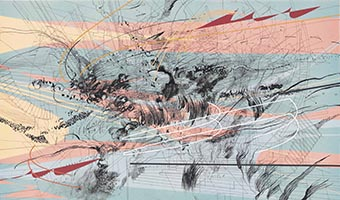Mehretu, Julie (b. 1970). Excerpt (citadel) (2003). Ink and acrylic on canvas. 81.5 x 137.4 cm. The Project, New York.